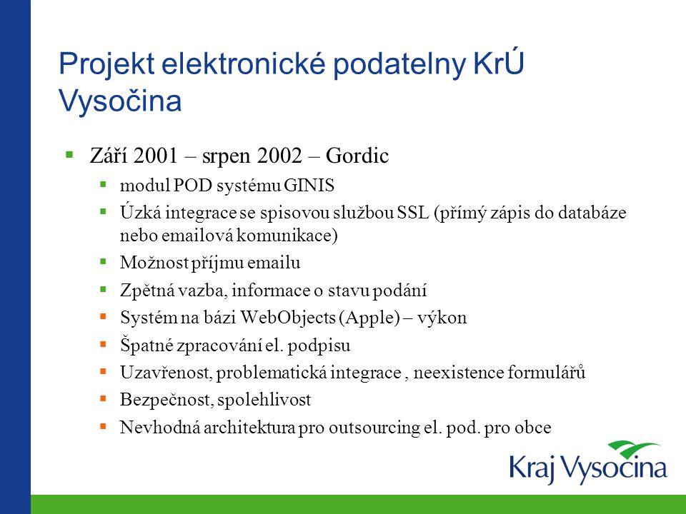 Projekt elektronické podatelny KrÚ Vysočina