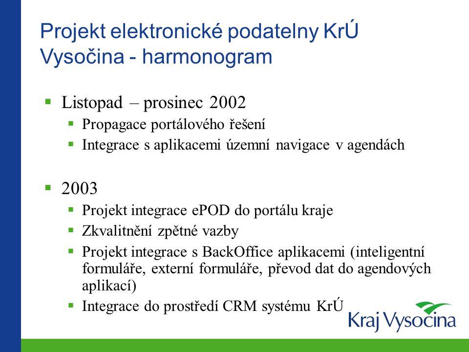 Projekt elektronické podatelny KrÚ Vysočina - harmonogram