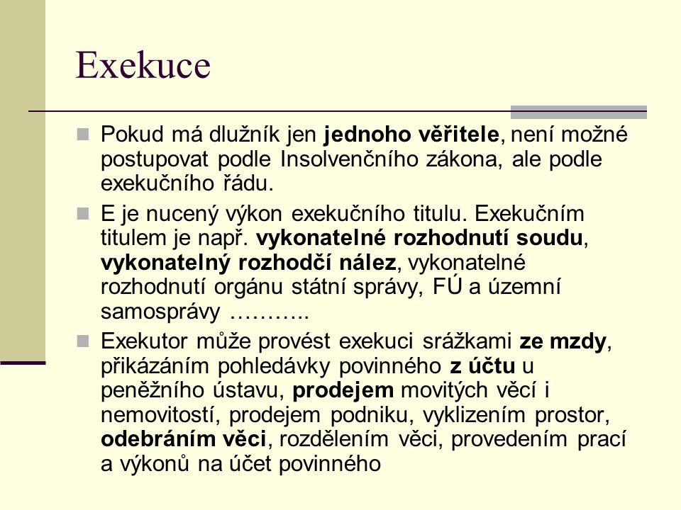 Exekuce Pokud má dlužník jen jednoho věřitele, není možné postupovat podle Insolvenčního zákona, ale podle exekučního řádu.