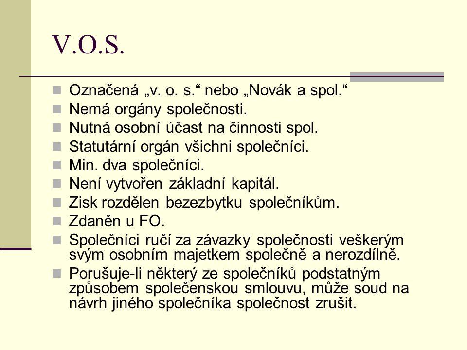 """V.O.S. Označená """"v. o. s. nebo """"Novák a spol."""
