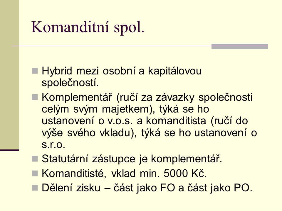 Komanditní spol. Hybrid mezi osobní a kapitálovou společností.