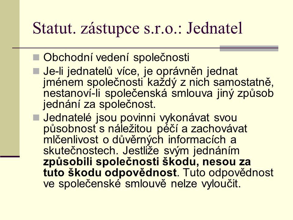 Statut. zástupce s.r.o.: Jednatel