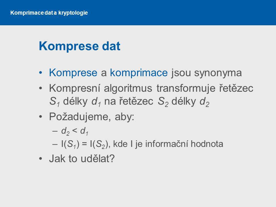 Komprese dat Komprese a komprimace jsou synonyma