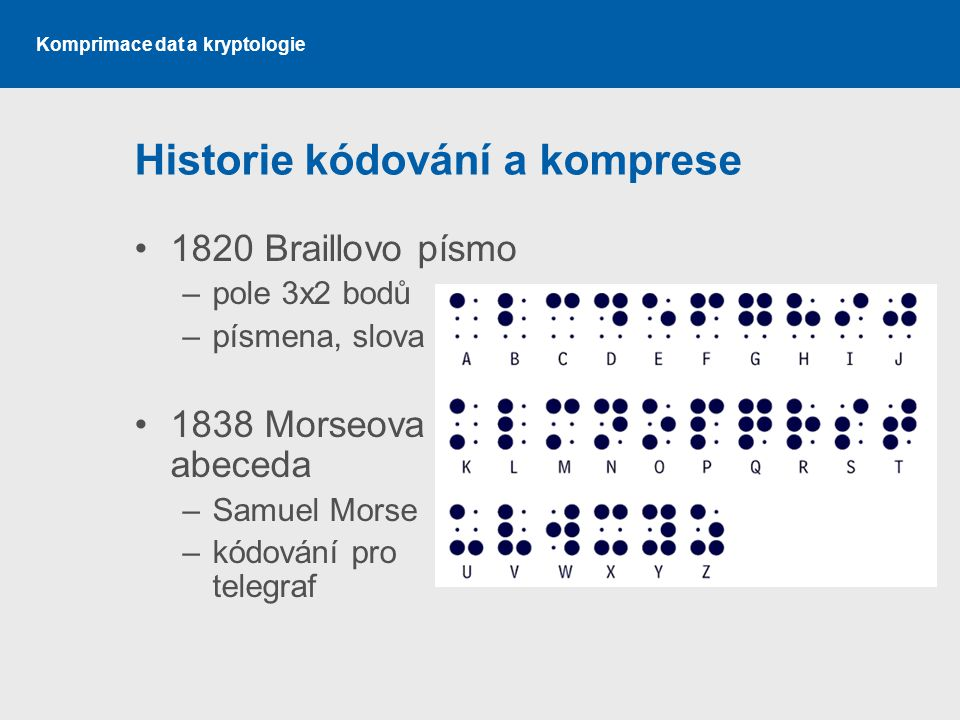 Historie kódování a komprese