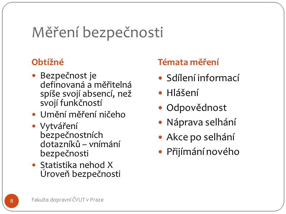 Měření bezpečnosti Sdílení informací Hlášení Odpovědnost
