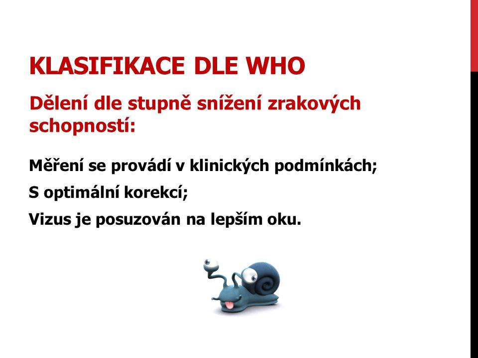 Klasifikace dle WHO Dělení dle stupně snížení zrakových schopností: