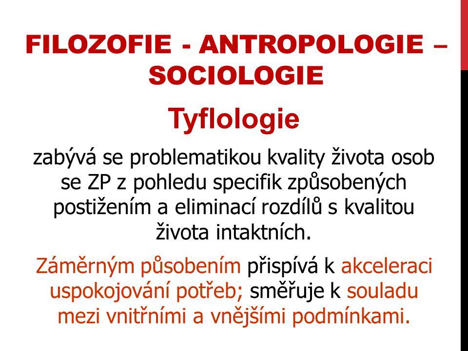 filozofie - antropologie – sociologie