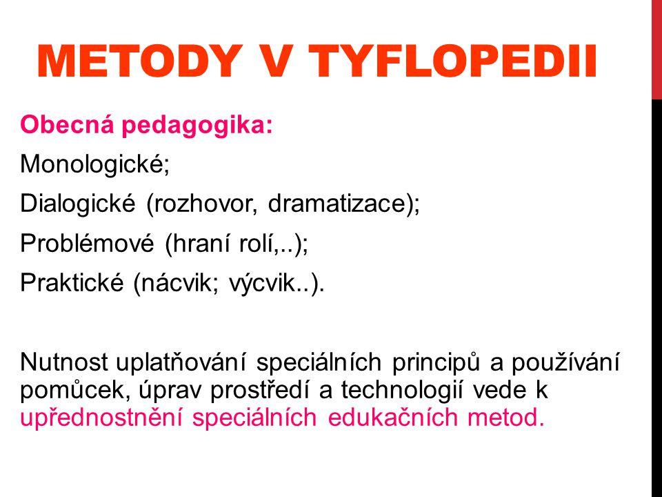 Metody v tyflopedii Obecná pedagogika: Monologické;