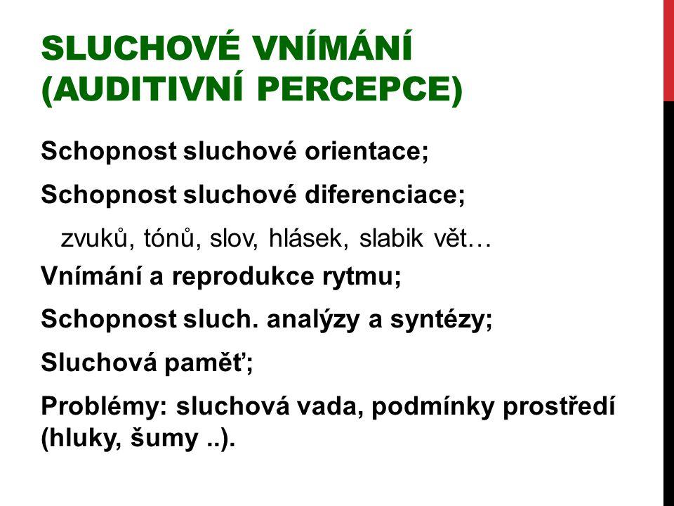 Sluchové vnímání (auditivní percepce)