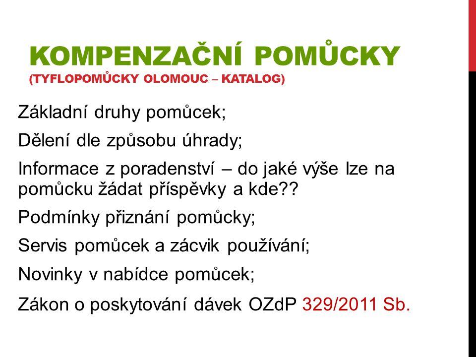 Kompenzační pomůcky (tyflopomůcky Olomouc – katalog)