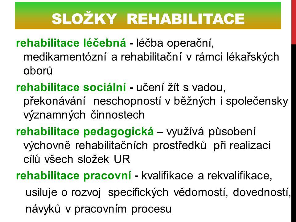 Složky rehabilitace rehabilitace léčebná - léčba operační, medikamentózní a rehabilitační v rámci lékařských oborů.