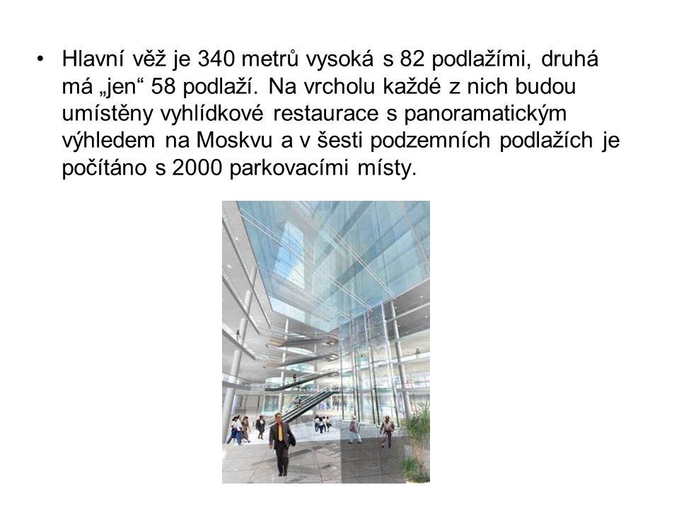 """Hlavní věž je 340 metrů vysoká s 82 podlažími, druhá má """"jen 58 podlaží."""
