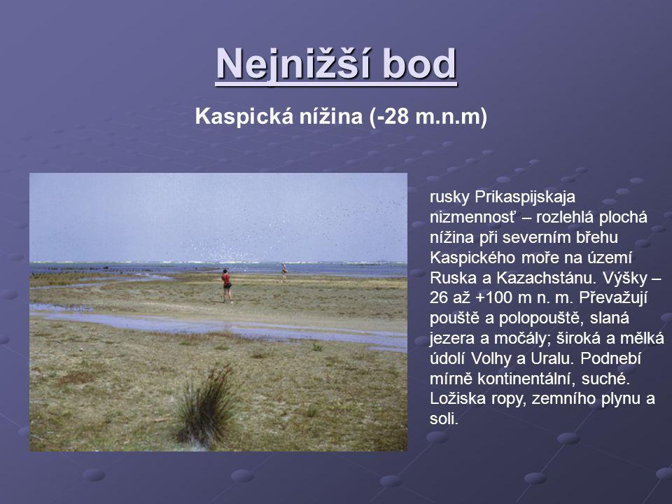 Nejnižší bod Kaspická nížina (-28 m.n.m)