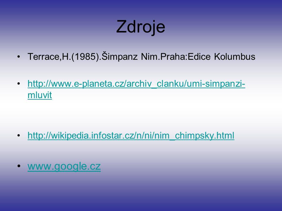 Zdroje www.google.cz Terrace,H.(1985).Šimpanz Nim.Praha:Edice Kolumbus