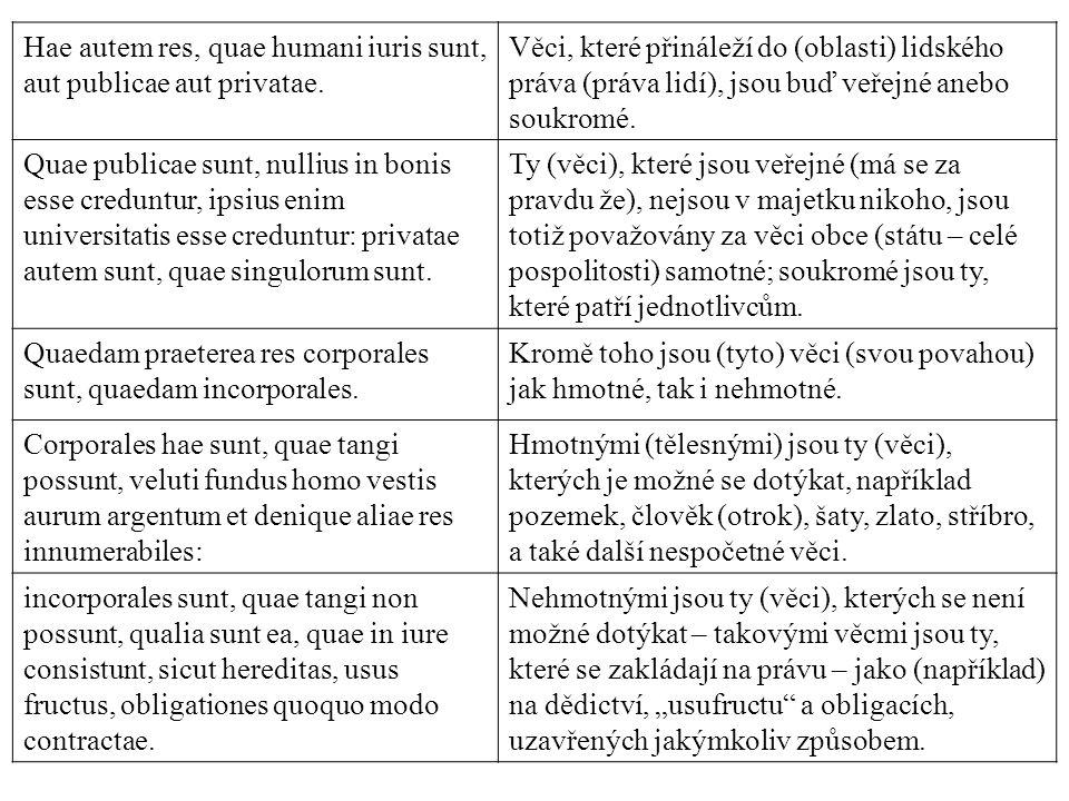 Hae autem res, quae humani iuris sunt, aut publicae aut privatae.