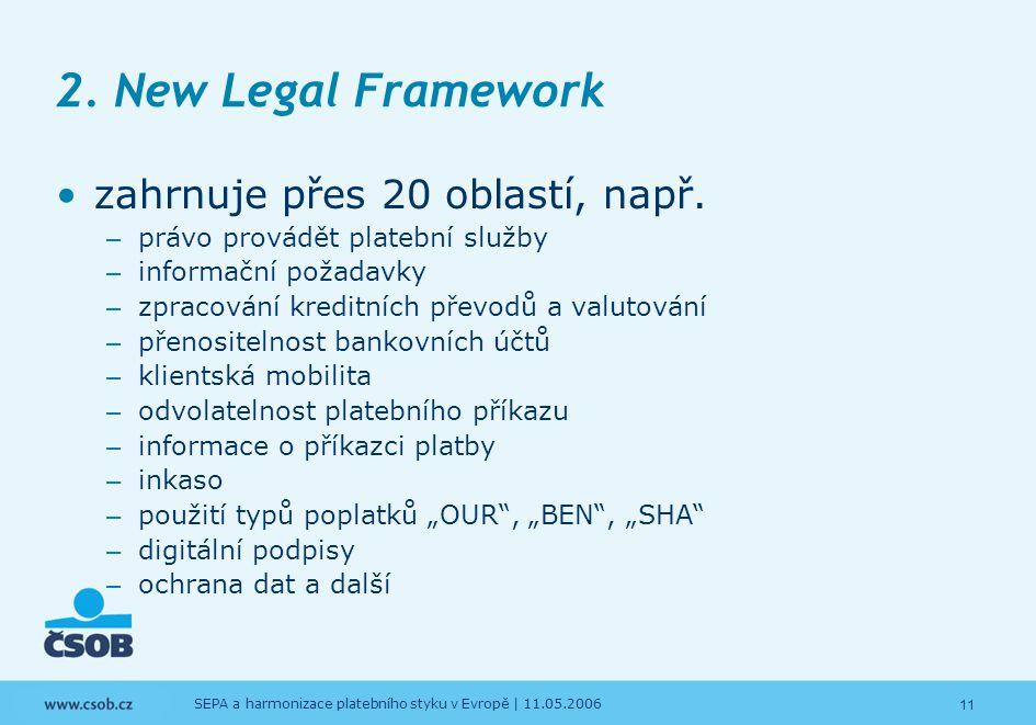 2. New Legal Framework zahrnuje přes 20 oblastí, např.