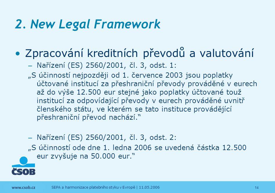 2. New Legal Framework Zpracování kreditních převodů a valutování