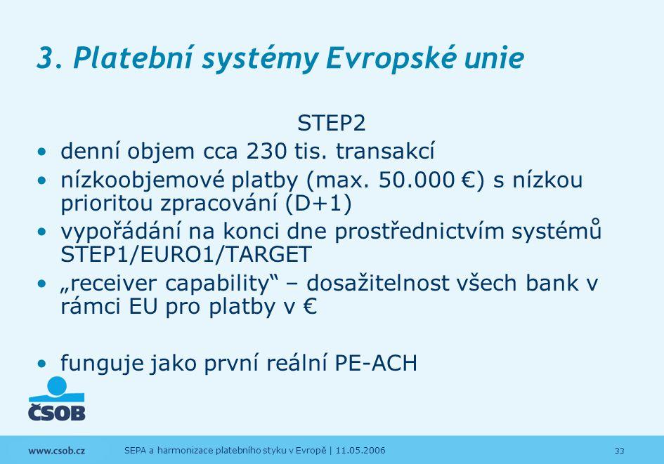 3. Platební systémy Evropské unie