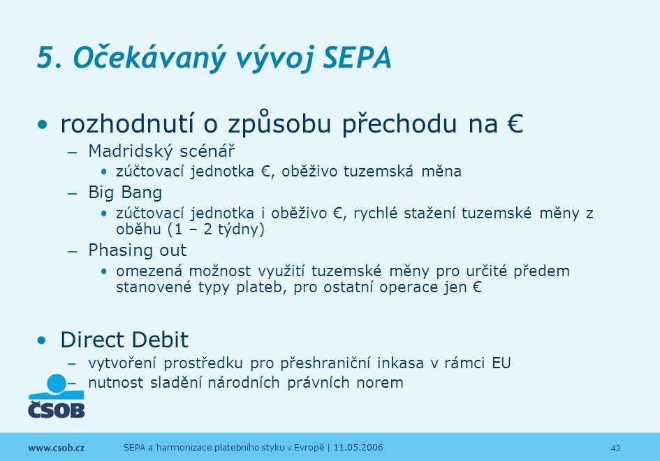 5. Očekávaný vývoj SEPA rozhodnutí o způsobu přechodu na €