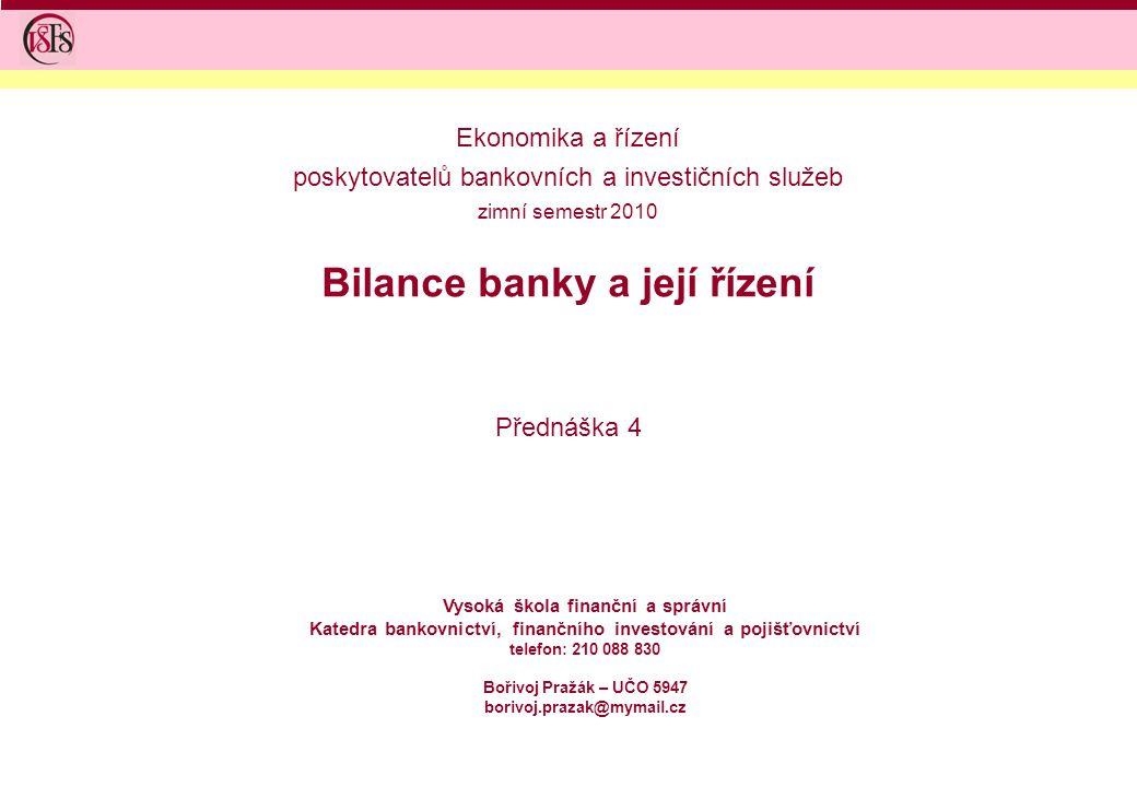 Bilance banky a její řízení