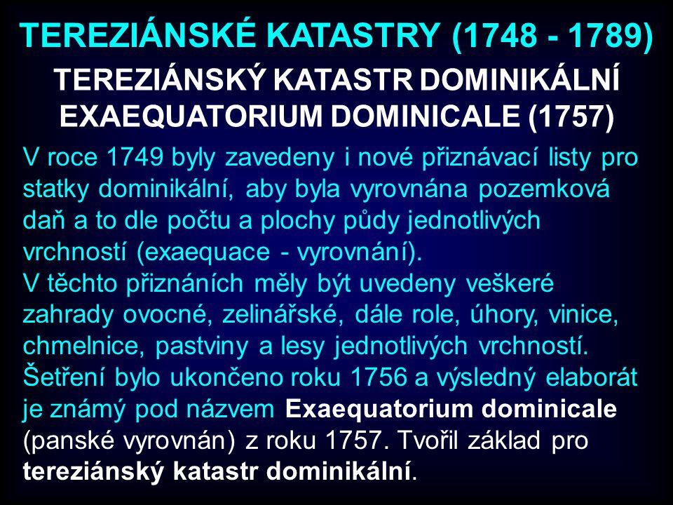 TEREZIÁNSKÉ KATASTRY (1748 - 1789)