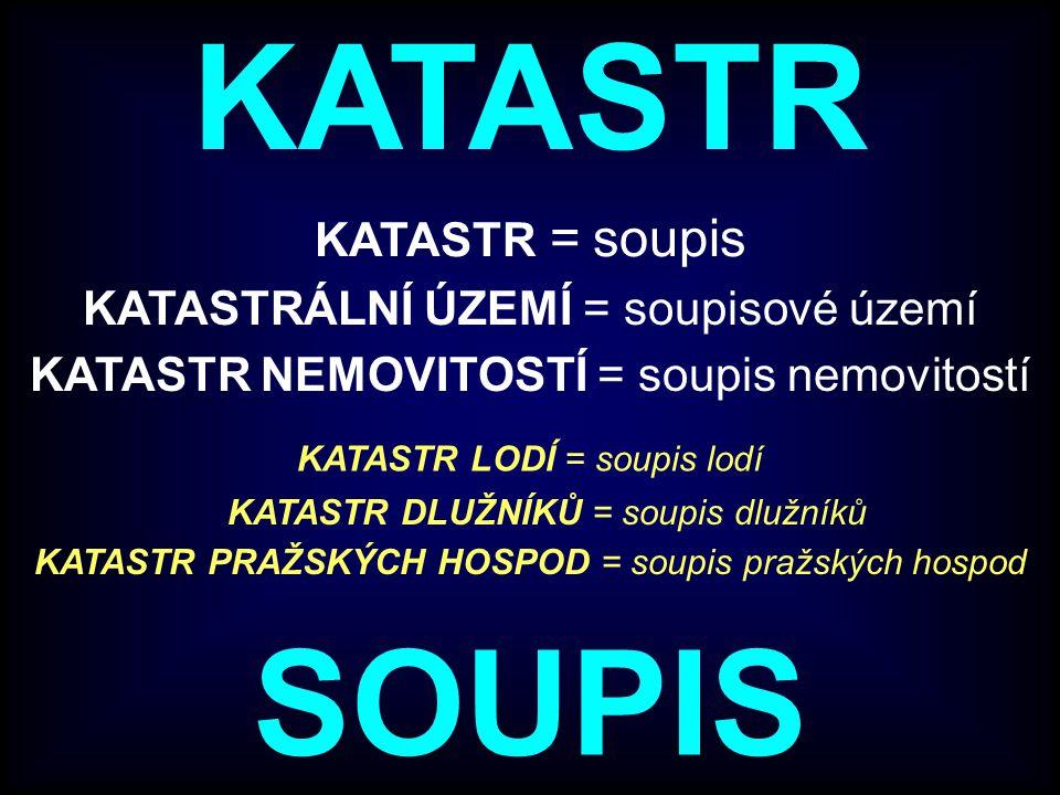 KATASTR SOUPIS KATASTR = soupis KATASTRÁLNÍ ÚZEMÍ = soupisové území