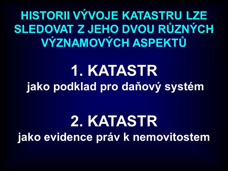 1. KATASTR jako podklad pro daňový systém