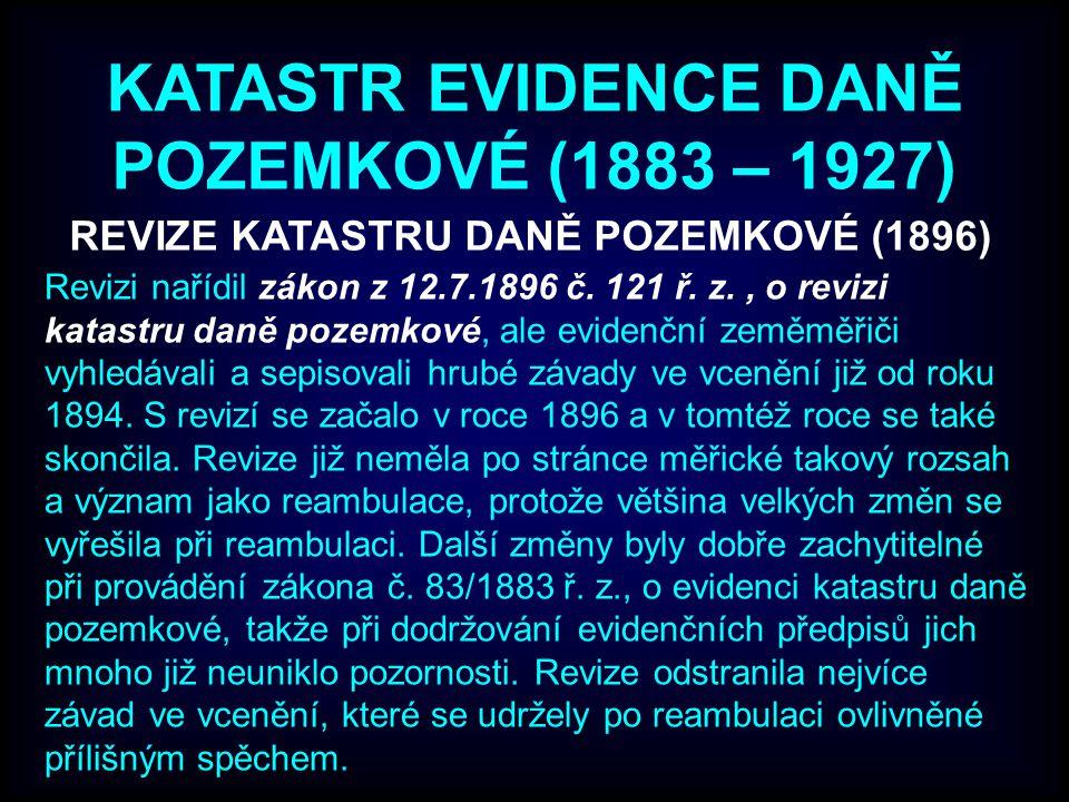 REVIZE KATASTRU DANĚ POZEMKOVÉ (1896)