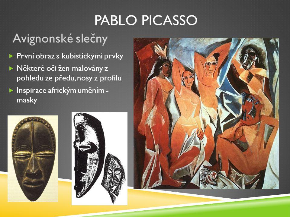 Pablo picasso Avignonské slečny První obraz s kubistickými prvky