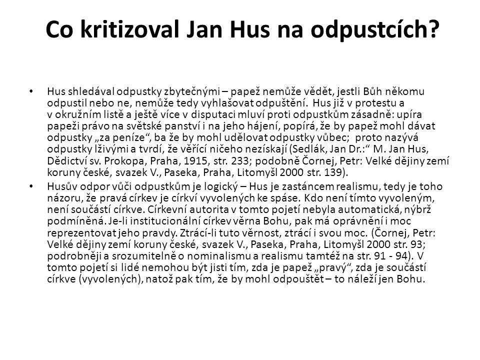 Co kritizoval Jan Hus na odpustcích