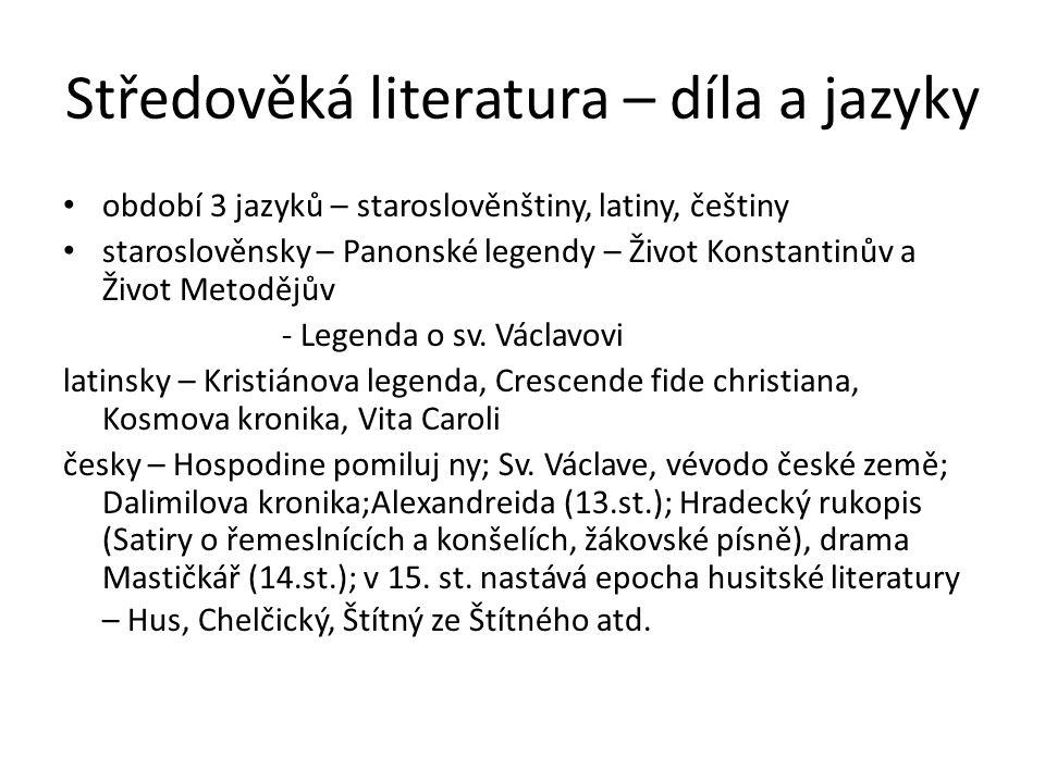 Středověká literatura – díla a jazyky