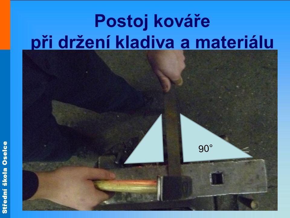 Postoj kováře při držení kladiva a materiálu