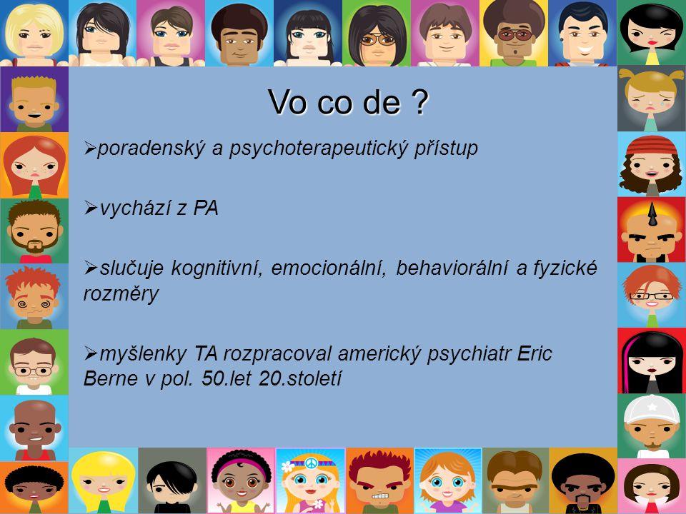 Vo co de poradenský a psychoterapeutický přístup. vychází z PA. slučuje kognitivní, emocionální, behaviorální a fyzické rozměry.