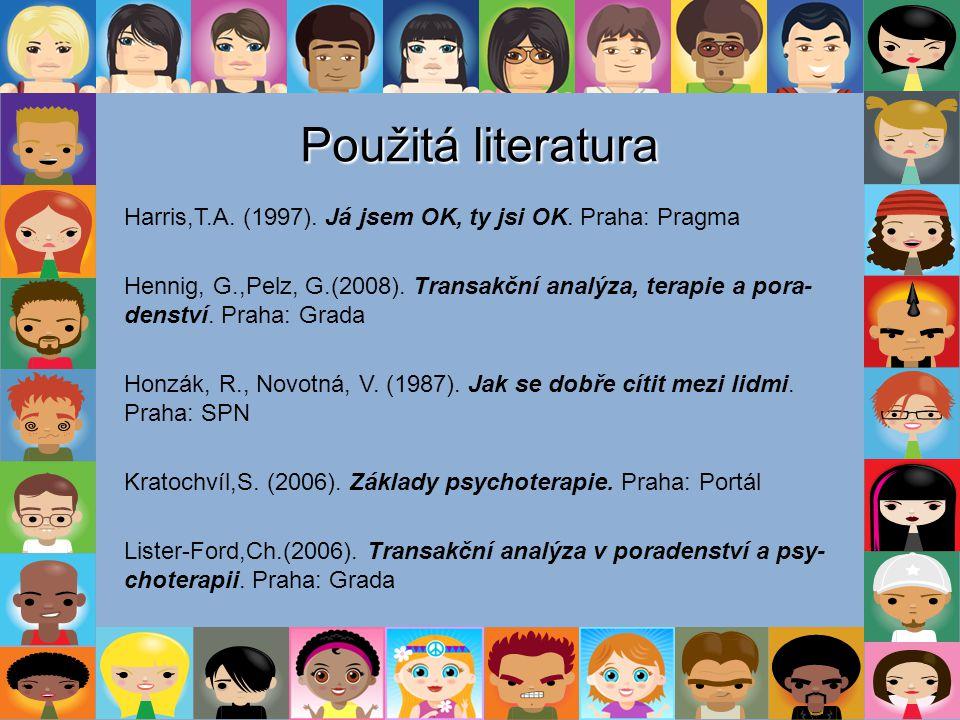 Použitá literatura Harris,T.A. (1997). Já jsem OK, ty jsi OK. Praha: Pragma.