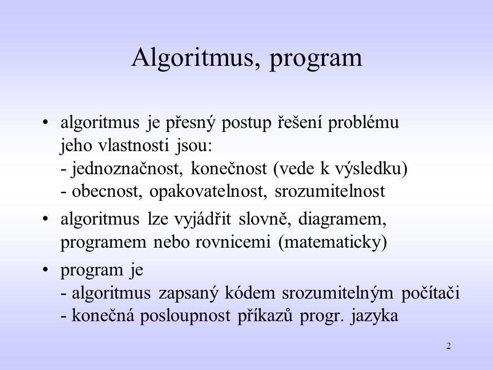 Algoritmus, program