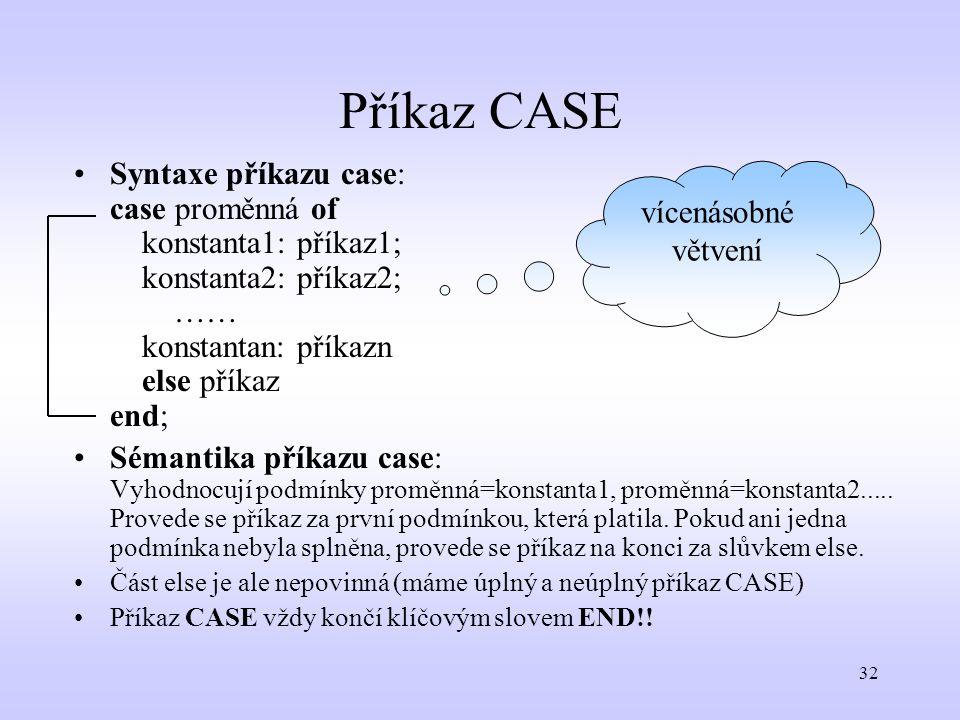 Příkaz CASE