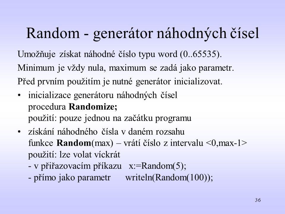 Random - generátor náhodných čísel