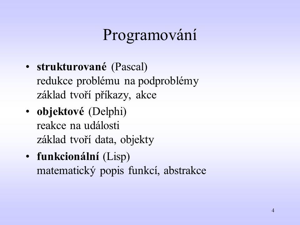 Programování strukturované (Pascal) redukce problému na podproblémy základ tvoří příkazy, akce.