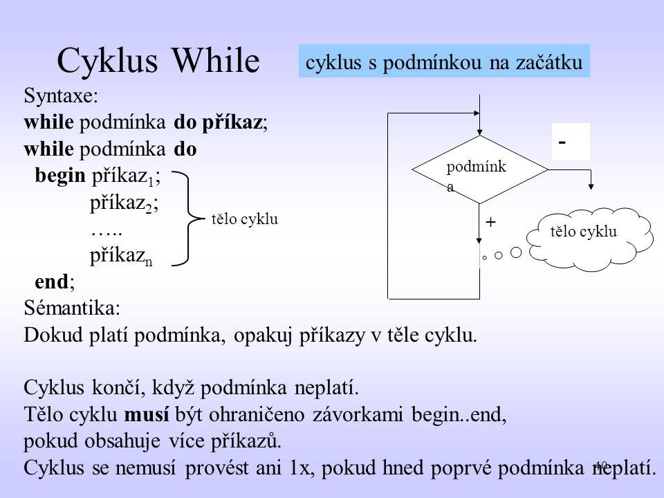 Cyklus While cyklus s podmínkou na začátku Syntaxe: