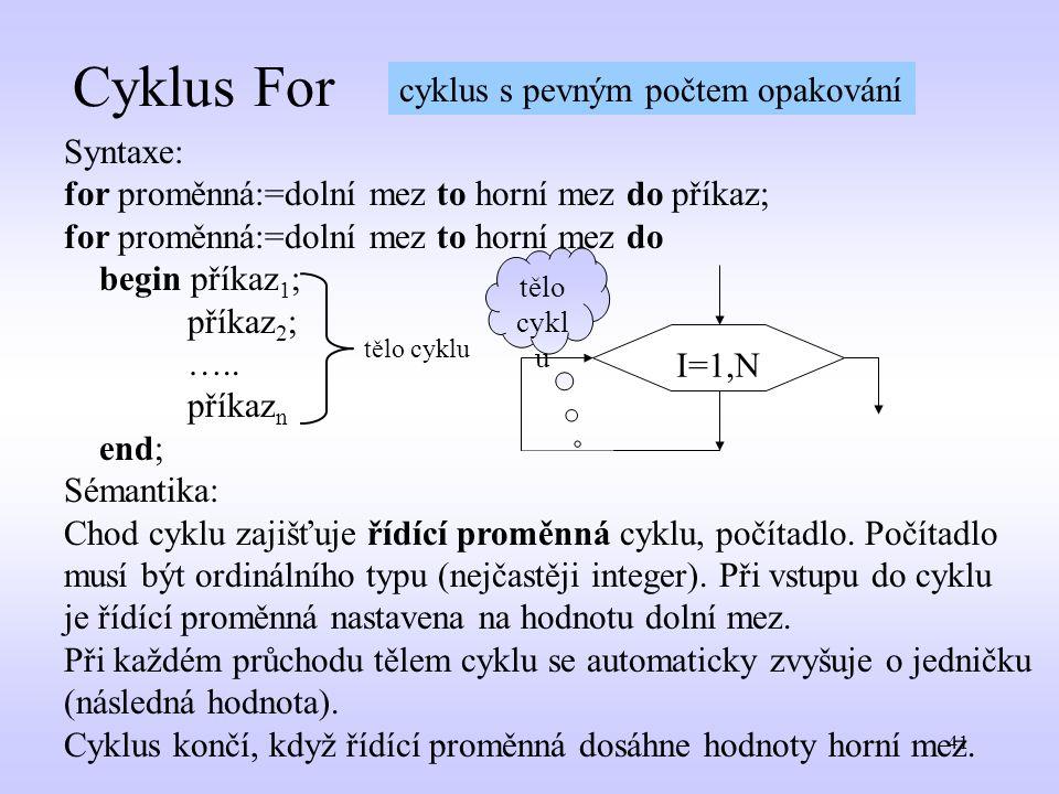 Cyklus For cyklus s pevným počtem opakování Syntaxe: