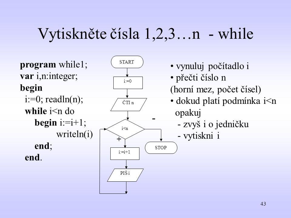 Vytiskněte čísla 1,2,3…n - while