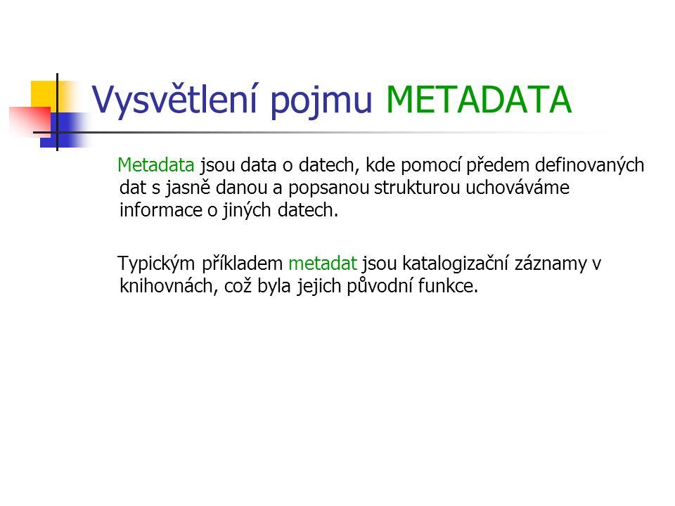 Vysvětlení pojmu METADATA