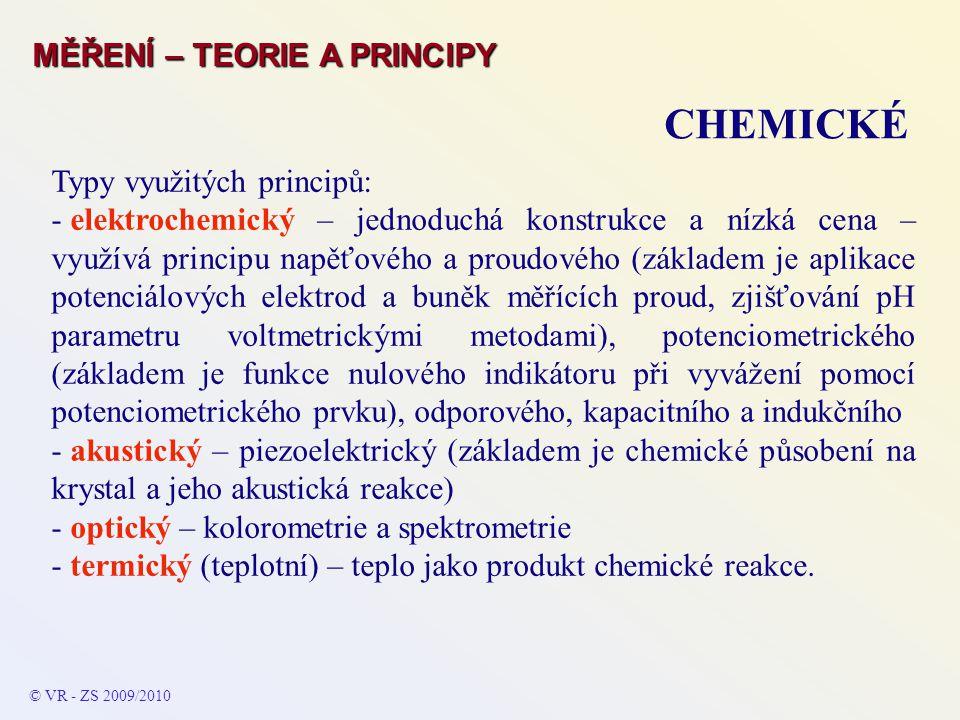 CHEMICKÉ MĚŘENÍ – TEORIE A PRINCIPY Typy využitých principů: