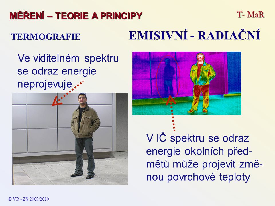 EMISIVNÍ - RADIAČNÍ Ve viditelném spektru se odraz energie neprojevuje