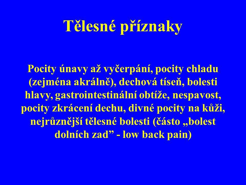"""Tělesné příznaky Pocity únavy až vyčerpání, pocity chladu (zejména akrálně), dechová tíseň, bolesti hlavy, gastrointestinální obtíže, nespavost, pocity zkrácení dechu, divné pocity na kůži, nejrůznější tělesné bolesti (částo """"bolest dolních zad - low back pain)"""