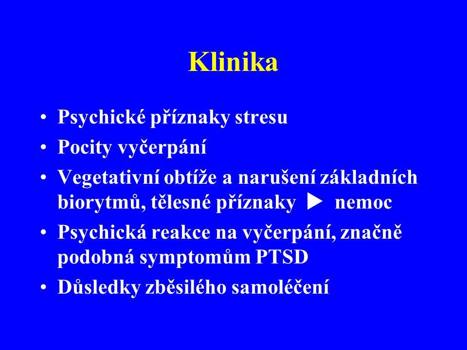 Klinika Psychické příznaky stresu Pocity vyčerpání