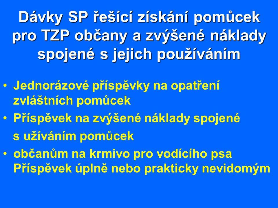 Dávky SP řešící získání pomůcek pro TZP občany a zvýšené náklady spojené s jejich používáním