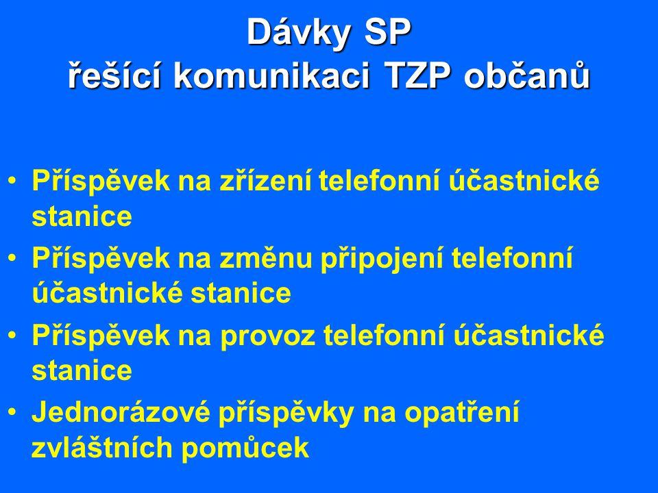 Dávky SP řešící komunikaci TZP občanů