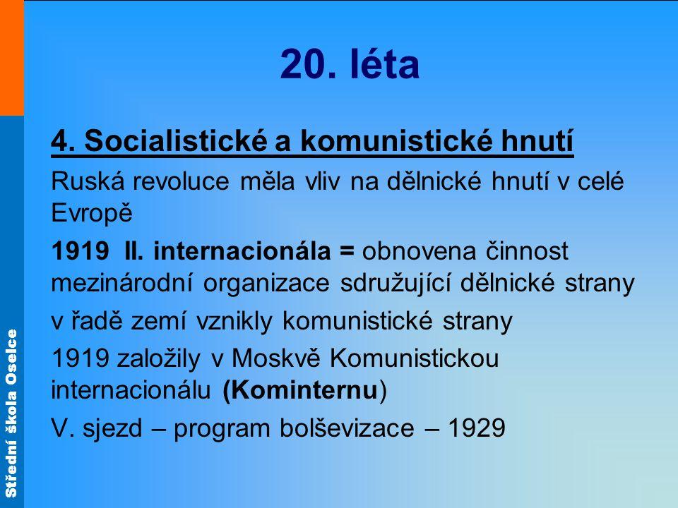 20. léta 4. Socialistické a komunistické hnutí