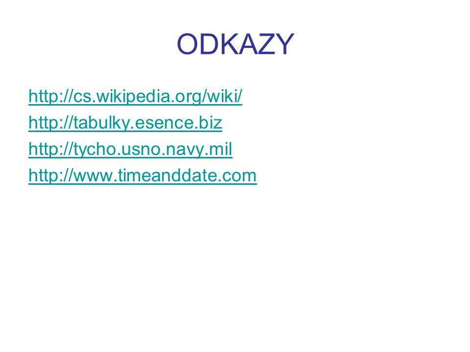 ODKAZY http://cs.wikipedia.org/wiki/ http://tabulky.esence.biz